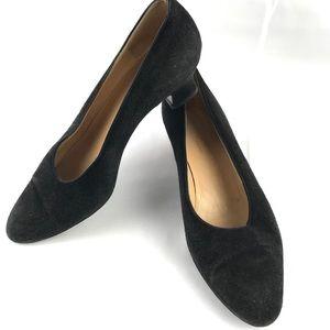 GUCCI vintage black suede kitten heel 36